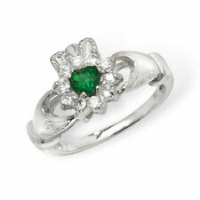 Sterling silver Emerald and clear Cubic Zirconia claddagh ring Size P