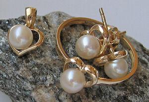 Schmuckset ♛ Perle Ring in aus 585 14kt Gold Ohrstecker Ohrringe Anhänger ♛ 7257