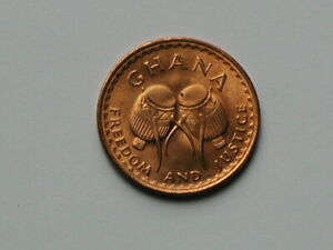 """Ghana AFRICA 1967 1/2 PESEWA Coin Toned-Lustre with Drums """"Freedom and Justice"""""""