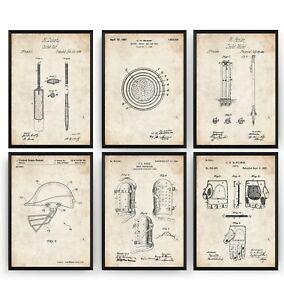 Cricket Set Of 6 Patent Prints - Sports Room Poster Wall Art Decor - Unframed