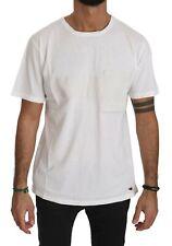 KM ZERO T-shirt Cotton White Roundneck Short Sleeve Men Top IT48/US38/M RRP $150