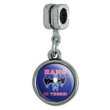 Hang in There Bat Funny Humor Italian European Style Bracelet Charm Bead