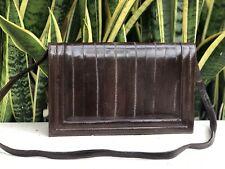 Vintage 50s 60s Brown Leather Eel Snakeskin Purse Envelope Clutch Handbag Bag