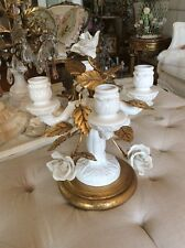 Italian Porcelain rose flower metal Tole Candelabra lamp Vtg Antique