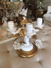 Italian Porcelain rose flower metal Tole Candelabra lamp Vtg Antique