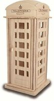 PHONE BOX Woodcraft Construction Kit -  Phone Booth Wooden 3D Model Kit Puzzle