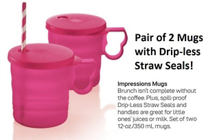 Two Tupperware Stackable Impressions Pink Mugs Set 12oz/350mL & Straw Seals New