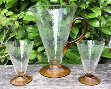 Old Vintage Art Deco Conical Amber & Clear Crackle Glass Jug & 2 Glasses