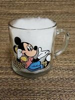 Mickey Minnie Mouse Walt Disney Clear Glass Coffee Mug Tea Cup Phone Telephone