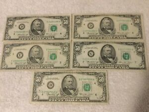 1974 $50.00 x 5 US Currency Lot
