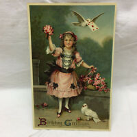 Vintage Birthday Greeting Postcard Ornate Girl w/ floral Motif AMB Dessin unused
