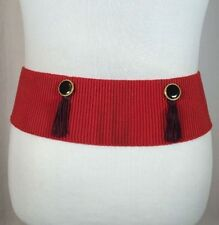 Vintage 70s Red Elastic Stretch Fashion Belt With Black Tassels Genie Retro Boho