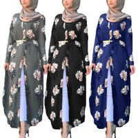 Women Floral Printed Long Maxi Shirt Dress Islamic Abaya Kaftan Holiday Jilbab