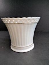 White Porcelain With Gold Trim Flower Pot Planter Vase Shabby Chic