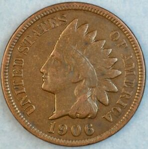 1906 Indian Head Cent Vintage Penny Old US Coin Liberty Full Rims Fast S&H 76773