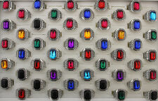 47pcs New Style Wholesale Mixed Lots Fashion Colorful Glass Men's Rings AH680