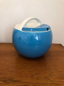 Vintage 1970s Italian Pagnossin Italian Ceramic Blue Ball Ice Bucket