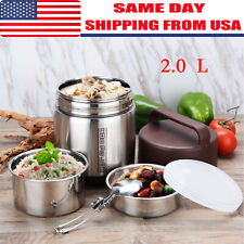 2L Vacuum Insulated Lunch Box 3 Tier Jar Hot Thermos Food Container Stainless