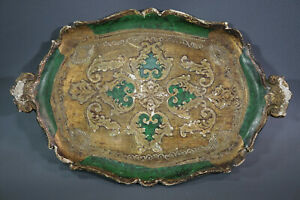 """Antique Italian Florentine Wooden Tole Tray Wood Green&Gold Platter Toleware 14"""""""