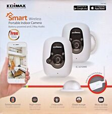 EDIMAX IC-3210WK SMART WIRELESS PORTABLE INDOOR BATTERY POWERED CAMERAS KIT (2)