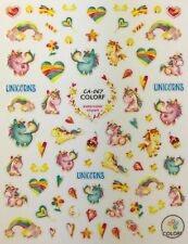 Nail Art 3D Decal Stickers Unicorns Rainbow Lollypop Flower Star Heart CA067