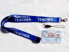 1 x TEACHER BLUE LANYARD with SAFETY BREAK CLIP & 1 x CLEAR ID CARD HOLDER UK