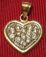 10 Karat Solid Yellow Gold Heart Cluster Pendant 16mmX13mm Cubic Zirconia AAA