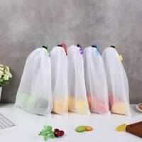 5x Reusable Grocery Shopping Bags Eco Friendly Fruit Vegetable Mesh Washable Bag