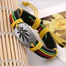 Alloy Marijuana Leaf Leather Cross Bracelet Cuff Charm Bangle  Men Women Gift