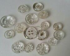 Vintage lot of assorted clear Glass Buttons-...
