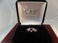 Amethyst Heart Ring Diamond Accents Sterling Silver # S 1167