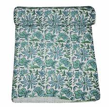 1Indian Vintage Flower Print Handmade Kantha Quilt Bedspread Queen Throw Decor A