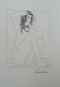 Pablo Picasso(After) : Model Naked Seated - Lithography Signed #1200ex
