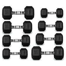 Hex Dumbbells Hexagonal Rubber Encased Ergo Weights Sets Gym Set Fitness Weight 40kg Single