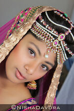 BLACK Matthapatti Damini Headpiece Jhoomar Hijab Head Wedding Bridal Indian