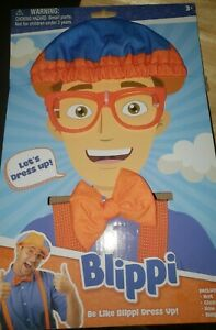 Blippi Roleplay Dress Up Costume Kit Hat Glasses Suspenders Bow Tie Imagination