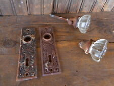 Antique Clear Glass Door Knobs,Ornate Brass Back Plates Very rusty Salvage