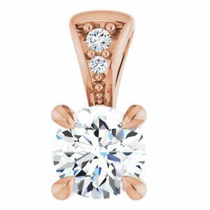 Forever One Moissanite & .01 CTW Diamond Pendant In 14K Rose Gold