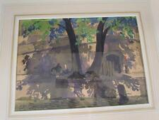MODERNIST LANDSCAPE W/C SIGNED GLEN MITCHELL, LISTED INDIANA ARTIST