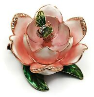Pink Flower Bee Decorative Jewelry Trinket Box Decor, Collectible Figurine.