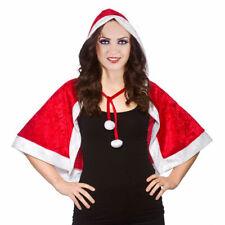 Ladies Christmas Santa Velvet Hooded Cape Women's Fancy Dress Costumes