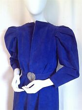 JEAN MUIR Cobalt Suede PUFF SLEEVE Trench w SILVER & JEWELED Belt - RARE COUTURE