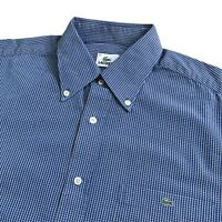 "Mens LACOSTE Shirt | Size 42 | L / XL | Blue Check Long Sleeve Casual 48"" Chest"