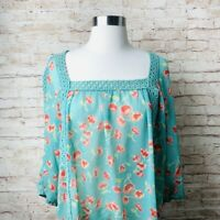 Lc Lauren Conrad Blouse Womens Sz L Large Eyelet Teal Floral Long Sleeve