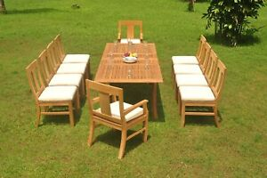 """11-Piece Outdoor Teak Dining Set: 94"""" Rectangle Extension Table, 10 Chairs Osbo"""