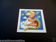 # J537- Unused 1945 Ars Sacra Xmas Greeting Card Cute Angel Making Star Garland