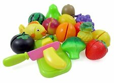 12 Pcs Food Playset for Kids Assortment of Veggies, W/ Knife, and Cutting Board
