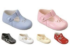 BABY GIRLS/BOYS BAY PODS SOFT PRAM SHOES PINK,WHITE,BLACK,CREAM,BLUE SIZE0,1,2,3