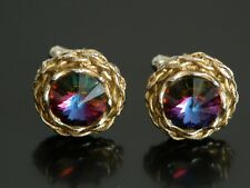 Vtg ACT Cufflinks Gold Tone Pink Blue Jeweled Stone Bling Hop Hop