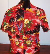 KY'S Mens Boys Red Black Yellow Hawaiian Casual Cotton Short Sleeve Shirt L USA